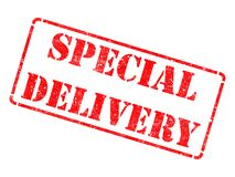 Special Delivery on Red Rubber Stamp. Special Delivery on Red Rubber Stamp Isolated on White Stock Photography