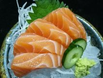 Special Deluxe salmon sashimi set  on ice sever with wasabi and cucumber , traditional Japanese food, closed up focus salmon Stock Images