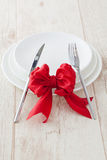 Special dinner  occasion. With someone special red bow present Royalty Free Stock Photography