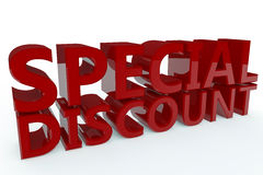 Special Discount. The words Special Discount written in red 3D text set against a white background Stock Images
