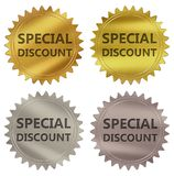 Special discount guarantee label. Special discount 3d rendered 4 color tag , golden guarantee label Vector Illustration
