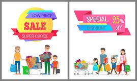 Special Discount Low Price Super Choice Posters. Vector illustration of two cute families, wheelbarrows, various purchases, text sample, light field Royalty Free Stock Photos