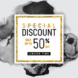 Special Discount Square Golden Banner Template with Black Marble Texture on White Background. Vector Illustration Gold Stock Photo