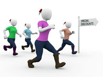 Special discounts. A group of women are running for special discounts Stock Photos