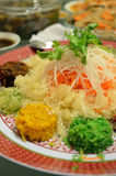 A special dish during Chinese New Year called Yusheng or Yee Sang Royalty Free Stock Image