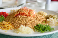 A special dish during Chinese New Year called Yusheng or Yee Sang Royalty Free Stock Photography