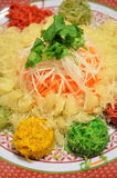 A special dish during Chinese New Year called Yusheng or Yee Sang Stock Photo