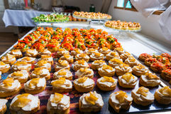 Special dishes for event. Different catering food specialties  for a special event Stock Photography