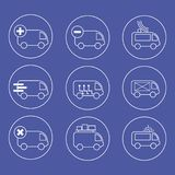 Special auto, white vector drawings on a blue background for web use royalty free illustration