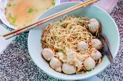 The special dry Wonton Noodles with seperate soup Stock Photography