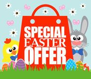 Special Easter Offer , funny rabbit and chicken Royalty Free Stock Photography