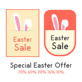 Special easter offer with two sale card. Concept of shopping, marketing, special presentation, retail, pricetag.  on white background. flat style trendy modern Stock Photos
