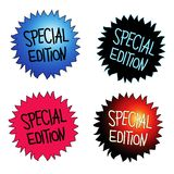 Special Edition. Four round starburst stickers with handwritten text SPECIAL EDITION royalty free illustration