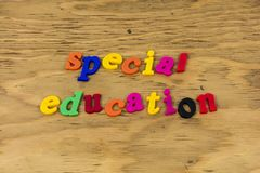 Special education class school educate plastic. Type sign love student children needs teach teaching learning autism disability group home royalty free stock photo