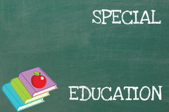 Special Education. The phrase Special Education on a chalkboard, next to three books and an apple royalty free stock photography