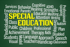 Special Education. Word cloud on Green Background Stock Photos