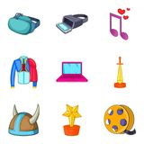 Special effect icons set, cartoon style. Special effect icons set. Cartoon set of 9 special effect vector icons for web isolated on white background Stock Photo