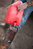 Special Effects Worker Pouring Gasoline Stock Photo
