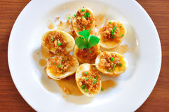 Fansy eggs dish. A special egg thai dished, called Kai-Look-Keoy or son-in-law's eggs Royalty Free Stock Image