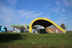 Special electrical tank station at the highway A20 at Rotterdam named Fastned for high speed charging electrical cars.  stock images