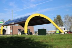 Special electrical tank station at the highway A20 at Rotterdam named Fastned for high speed charging electrical cars.  stock photography