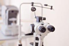 Eye examination in oculist lab royalty free stock photos