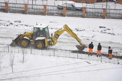 Special equipment on road construction. Snowfall Royalty Free Stock Image