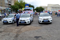 Special equipment. Three cars of traffic police. Stock Image