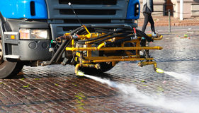 Special equipment on the truck for street cleaning Royalty Free Stock Images