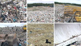 Special equipment work and people in dump. Footage collage stock video footage
