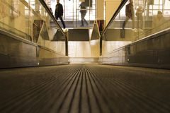 Special escalator in modern mall for people with. Supermarket carts and disabled people Stock Image