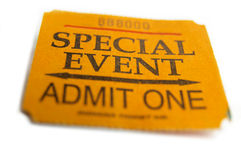 Special event. Ticket stub, special event macro Royalty Free Stock Images