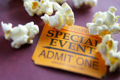 Special event. Ticket stub for Special Event with popcorn Stock Images