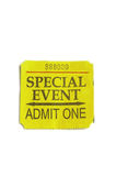 Special event. Single ticket stub on white Stock Photo