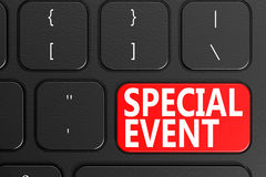 Special Event on black keyboard. 3D rendering Stock Photo