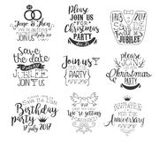 Special Event Hand Drawn Invitation Set Royalty Free Stock Photography