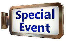 Special Event on billboard background. Special Event wall light box billboard background , isolated on white Royalty Free Stock Image