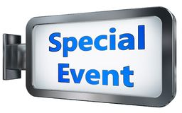 Special Event on billboard background. Special Event wall light box billboard background , isolated on white Stock Photo