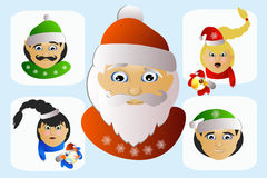 Special exótico estranho da imagem do ícone de Santa Claus em um fundo branco poucos Foto de Stock Royalty Free