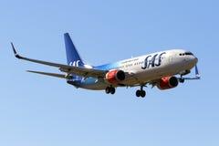 Special färgintrig SAS 737-800 Arkivbilder