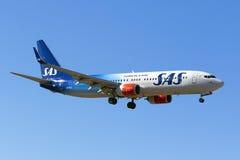 Special färgintrig SAS 737-800 Arkivfoto