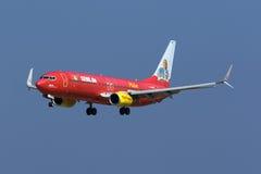 Special färgintrig TUIjet 737 Arkivfoto