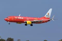 Special färgintrig TUIjet 737 Arkivfoton
