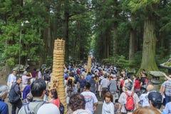 The special festival - Yoshida fire festival at Fujisan Hongū S royalty free stock images