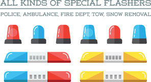 Special Flashers Set Vector. Special Flashers of Emergency Dept Department Police Fire Ambulance Accident Tow Snow Removal Stock Photo