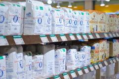 Special flours in a bio products shop. Special organic flours in a bio shp products from Tampere Finland Stock Photo