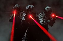 Special force assault team during a secret mission stock photo