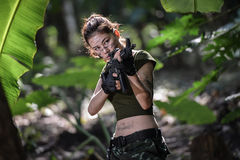 Special force with the gun in the jungle Stock Photo