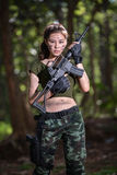 Special force with the gun in the jungle, soldier Royalty Free Stock Image