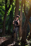 Special force with the gun in the jungle Royalty Free Stock Image